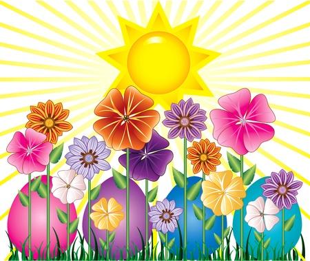 Vector illstration van een lente met zonneschijn en Easter Egg tuin met gras.