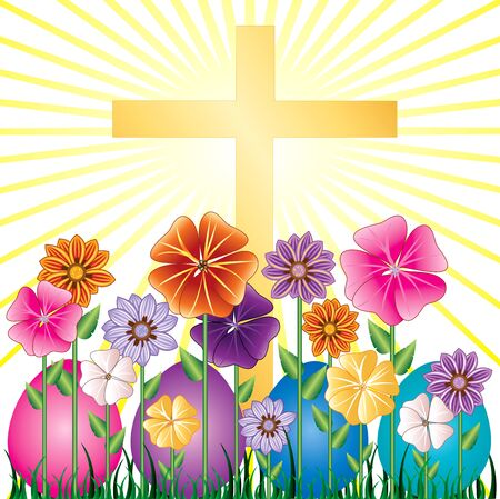 Vector illstration of a Cross and Easter Resurrection Egg Garden with grass. Ilustração