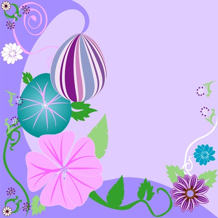 Vector Illustration of Easter Egg Floral Background.