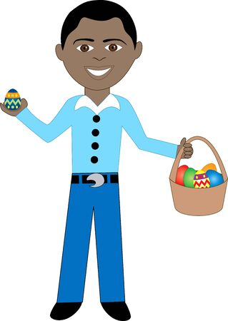 Vector of boy with Easter Eggs and Basket. Vector
