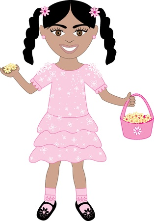 latin american girls: Vector of cute little girl with Flowers and Basket.