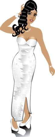 biracial: Vector White Wedding Gown, can be used for Weddings, Beauty Pageants, Parties, Christmas, Valentines Day, Prom or more. Illustration