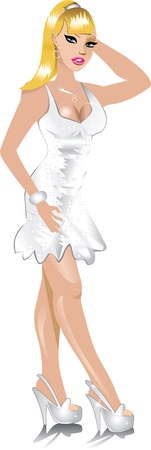 blonde blue eyes: Vector of white wedding dress, can be used for Weddings, Beauty Pageants, Parties, Christmas, Valentines Day, Prom or more.