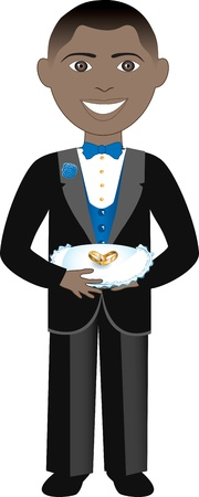 spring coat: Vector of boy with rings and pillow. Ring Bearer 2. Illustration