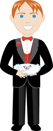bearer: Vector of boy with rings and pillow. Ring Bearer Illustration