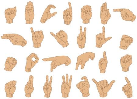 Vector Illustratie van gebarentaal Hand Gebaren. Stockfoto - 9399365