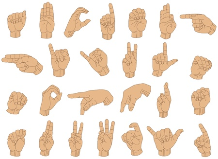 palm reading: Vector Illustration of Sign Language Hand Gestures.
