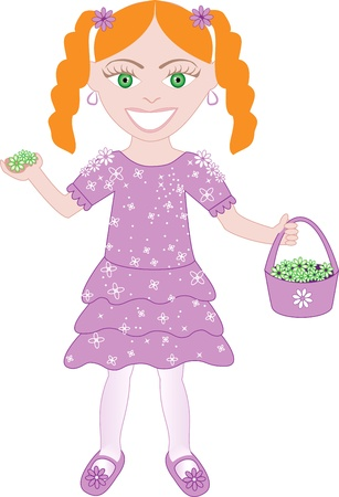 ponytails: Vector of cute little girl with Flowers and Basket.