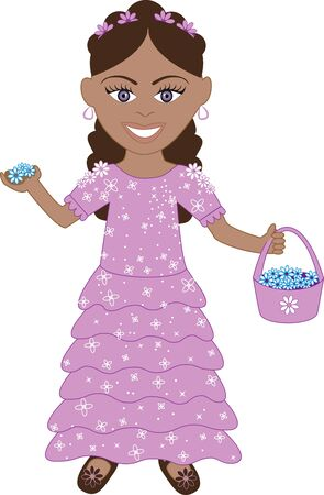 Vector of cute little girl with Flowers and Basket. Stok Fotoğraf - 9399362