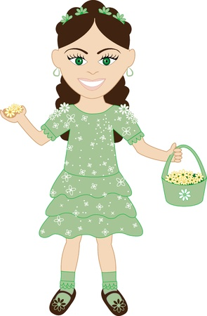 biracial: Vector of cute little girl with Flowers and Basket.