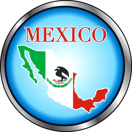 Vector Illustration for Mexico, Round Button.