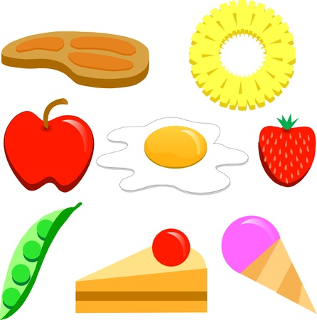 green apple slice: various cooked food and fresh fruit.