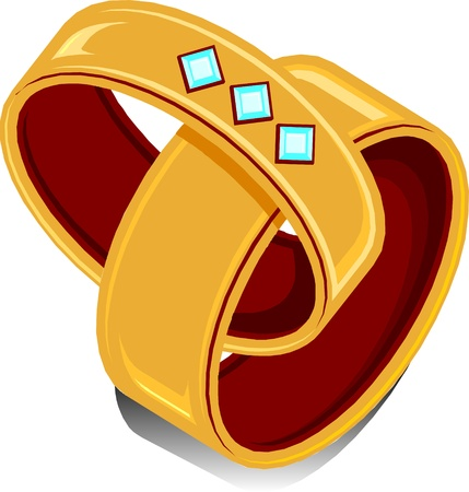 two wedding rings linked together. Vector