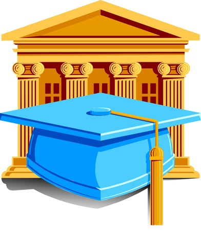 scholars: a cap with tassle for graduation with school in the background. Illustration