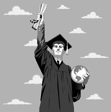 若い男が彼の証明書が付いている空に手を伸ばします。