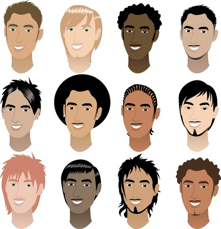 punk hair: Vector Illustration of twelve Men Faces # 4.