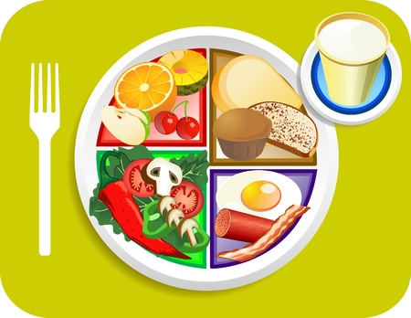 food: Vector illustration of Breakfast items for the new my plate replacing food pyramid.