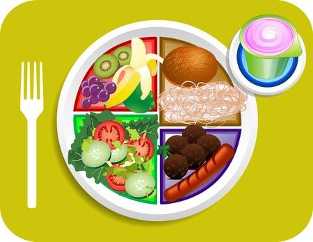 Vectorillustratie van Lunch items bij de nieuwe mijn bord vervangen voedsel piramide. Stock Illustratie