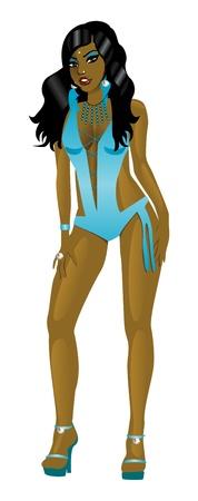 Ilustración vectorial de mujer de traje de baño monokini de verde azulado.