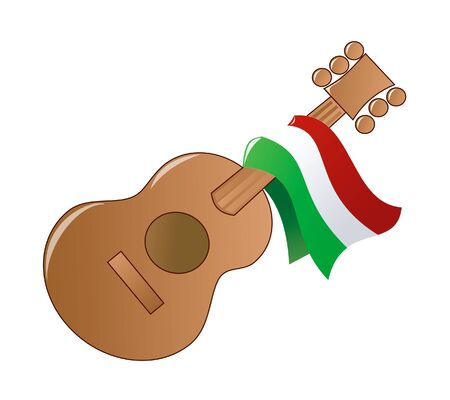 flag of mexico: Raster version Illustration of a Mexican guitar party icon. Stock Photo