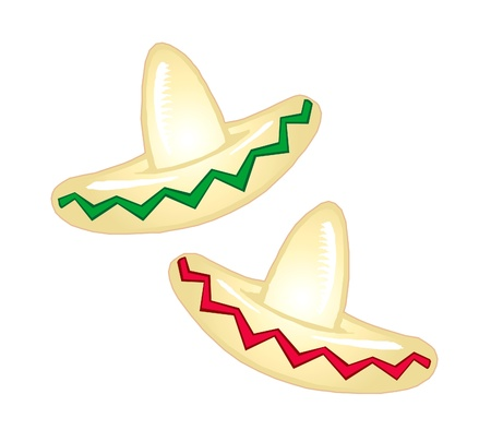 Raster version Illustration of a Mexican party hat Standard-Bild