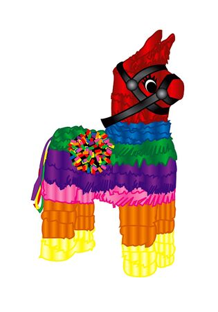 version: Raster version Illustration of a pinata Mexican party icon. Stock Photo