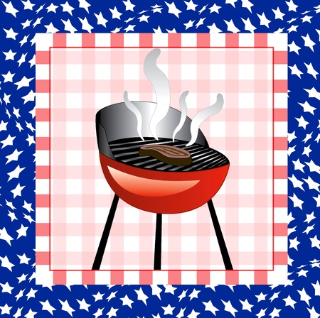 Illustration for the 4th of July Independence bbq Square background. Vector