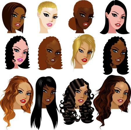 Ilustración de caras de mujeres birracial mixto. Excelente para avatares, maquillaje, tonos de piel o peinados de las mujeres mixtas. Ilustración de vector