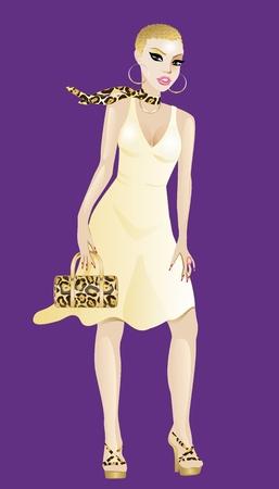 Ilustración de una mujer con vestido de amarillo y oro aislado en un fondo púrpura.