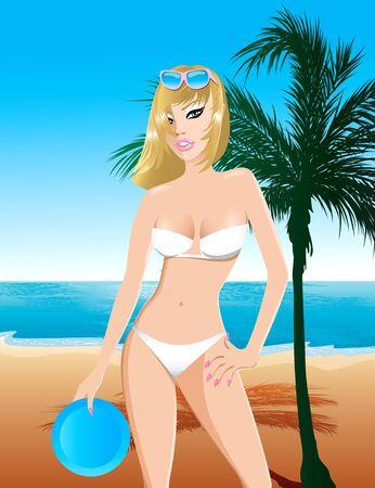 ni�as ba�andose: Ilustraci�n de una ni�a de traje de ba�o blanco en la playa con un disco volador y palmera.