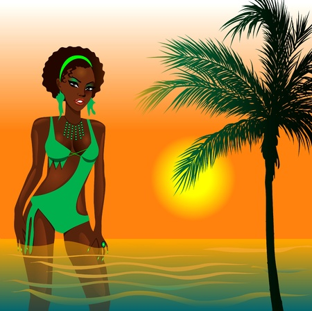 Illustration of a Green Swimsuit Girl in water at beach during sunset or sunrise. Vector