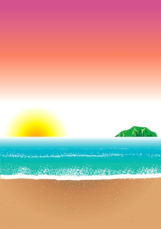 Illustration of Beach Background Vector