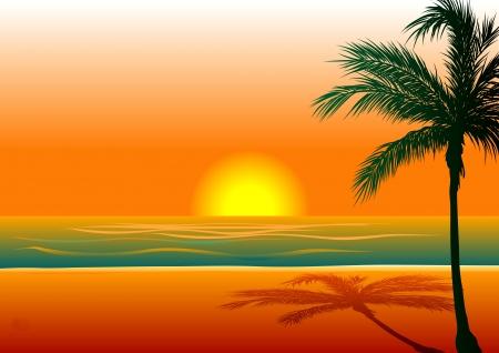 Ilustracja plaży tle 1 podczas zachodu słońca / Sunrise. Ilustracje wektorowe