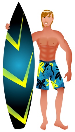 Illustration of an athletic surfer with surfboard. Vector