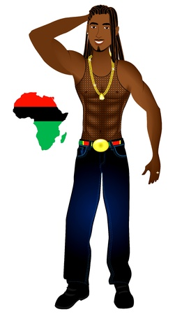 Illustration of an Afrocentric Rasta man with African map. Illustration