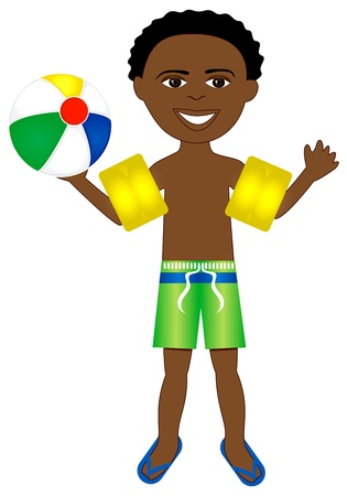 afro boy in swimsuit with arm floats and beach ball.