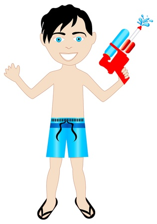 young boy in pool:  black hair boy in swimsuit with watergun.
