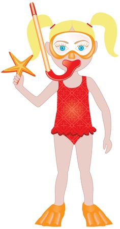 little girl beach: Blond girl in swimsuit with snorkel and starfish. Illustration