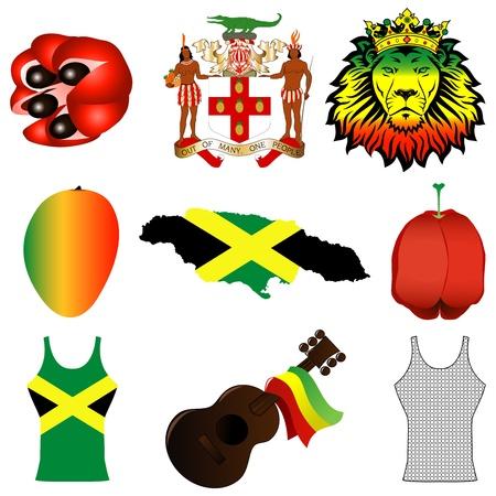 dreadlocks: Ilustración vectorial de 9 iconos jamaicanos.