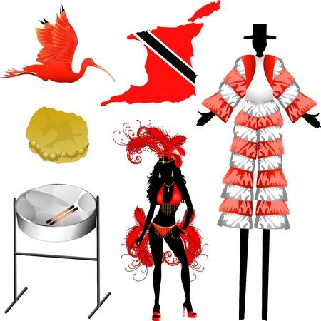 jamaican: Ilustraci�n vectorial de 6 iconos de Trinidad y Tobago.
