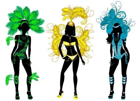 piume: Illustrazione vettoriale per carnevale 3 silhouette con costumi diversi.