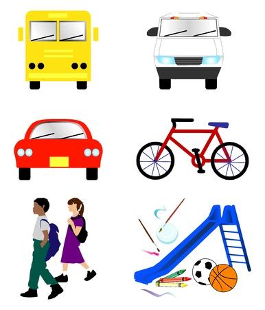Illustration of 6 school transportation icons.