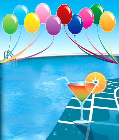 Illustration of pool party with balloons and cocktail drink. Vector