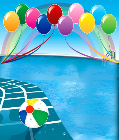Illustration of pool party with balloons and beach ball.