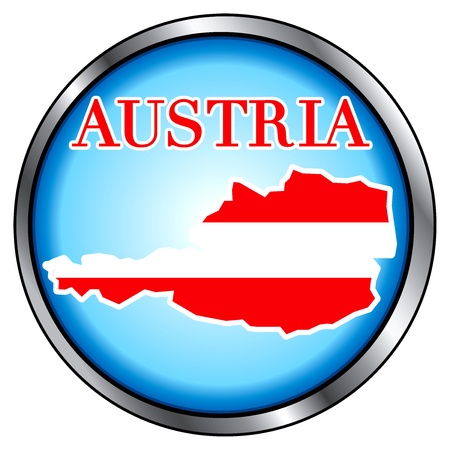 Illustration for Austria, Round Button. Vector