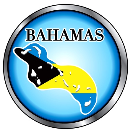 Illustration for the Bahamas, Round Button. Vector