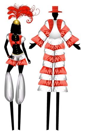 Illustration of two Moko Jumbies also known as stiltwalkers.