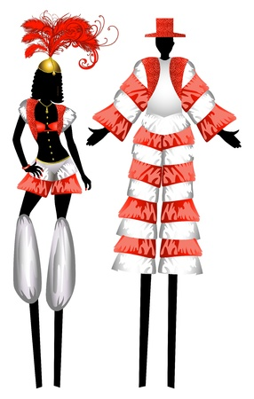 Illustration of two Moko Jumbies also known as stiltwalkers.