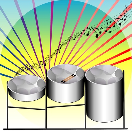 Illustration of three variations of Steel Pan Drums invented in Trinidad and Tobago.