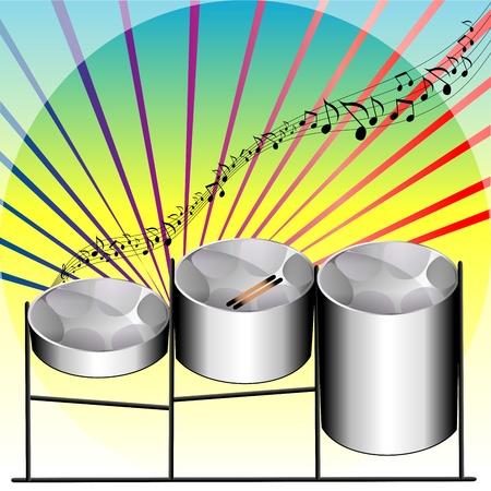 steel pan: Ilustración de tres variaciones de tambores de acero Pan inventado en Trinidad y Tobago.